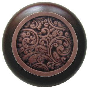 Saddleworth Wood Knob in Antique Copper/Dark Walnut wood finish