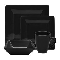 Nova 16-Piece Square Dinner Set, Black