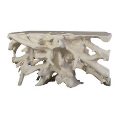 60-inchL Sofa Table Cast Root Console Gel Coat White Resin Sculpture 437