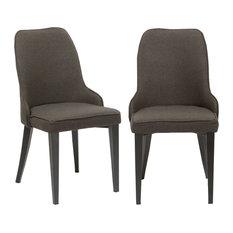 Btexpert Fabric Upholstery Dining Chairs Set Of 2 Steel Dark Gray