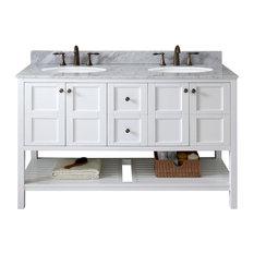 "Virtu Winterfell 60"" Double Bathroom Vanity, White With Marble Top"