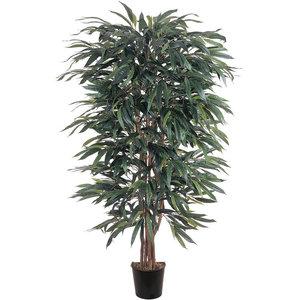 Vickerman Christmas Trees TBU0240-06 Ficus Variegated Bush Tree in Pot 4-Feet Green//White