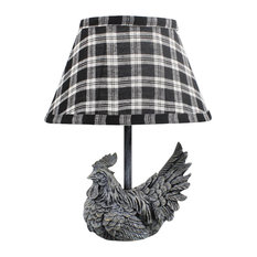 Mini Rooster Accent Lamp With Plaid Shade