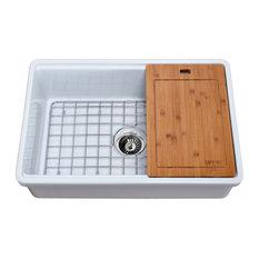 "Tosca Reversible Farmhouse Single Bowl Sink, Cutting-Board, Grid, Strainer, 30"""