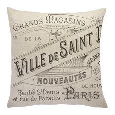 Paris Advertisement Linen Throw Pillow