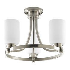 Progress Lighting 3-Light Convertible With Opal Etched Glass, Brushed Nickel