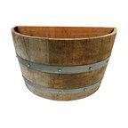 """Oak Wood Quarter Wine Barrel Planter, 26""""W x 14""""L x 18""""H"""
