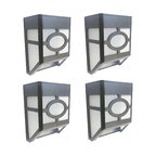 Solar Powered Outdoor Landscape Light for Garden Yard Fence, White, Set of 4
