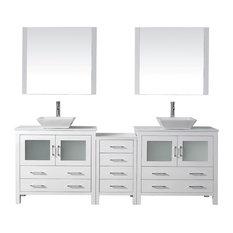 "Dior 90"" Double Bathroom Vanity Set White, Stone Top, Vessel Sink"