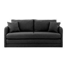 Sofamania   Modern Modular Convertible Sleeper Sofa, Soft Linen Fabric,  Dark Gray   Sleeper