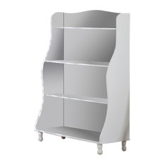 Wood 3-Tier Tall Bookcase, White Finish