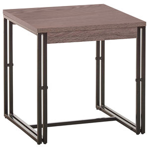 Modern Industrial End Table, Particle Board and Steel Double, Leg Frame