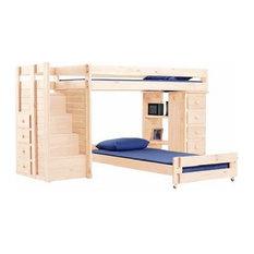 Hemet XL Twin L Shaped Storage Loft Bed with Steps, Unfinished