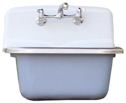Deep Vintage Style Wall Utility Sink Cast Iron Orig Porcelain Wdgewood Blue Set More Info
