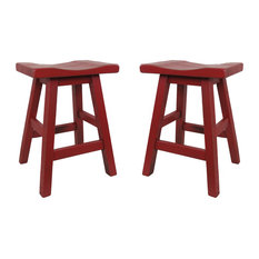 Saddle Swivel Bar Stool - Red Barn Stain (SET Of 2) 24-inch Seat Height