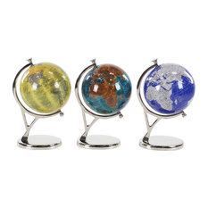 Contemporary Resin Globes, 3-Piece Set, Yellow, Green, and Blue
