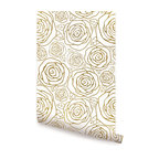 "Gold Roses Wallpaper, Peel and Stick, 24""x108"""
