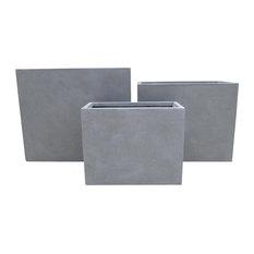 Raised Narrow Contemporary Light Concrete Trough Planter, Grey, Large