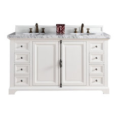 Providence 60 Cottage White Double Vanity w/ 3cm Shadow Gray Quartz Top by James Martin