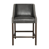 Castaic Stool by Kosas Home, Charcoal Gray, Counter Height