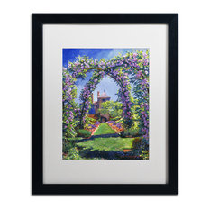 "David Lloyd Glover 'English Rose Arbor' Art, Black Frame, 16""x20"", White Matte"