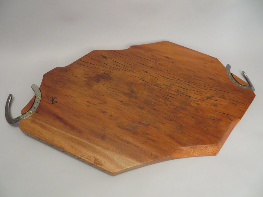 #15050 Rear Detail: Hand-Carved Serving Tray. Reclaimed Elm Threshing Floor & Ho
