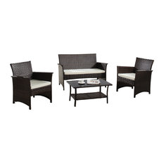 Divano Roma Furniture   Outdoor 4 Piece Seat Wicker Furniture Set, Brown    Outdoor