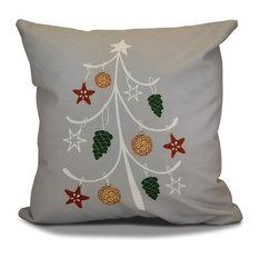 "Decorative Outdoor Holiday Pillow Geometric Print, Gray, 18""x18"""