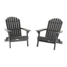 Hillary Outdoor Rustic Acacia Wood Folding Adirondack Chair, Set of 2