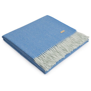 Exclusive Baby Alpaca Throw, Blue-White