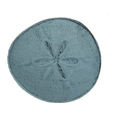 Cast Iron Sand Dollar Decorative Plate, Dark Blue Whitewashed, 6""