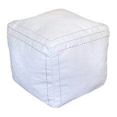 Square Moroccan Stuffed Pouf, White