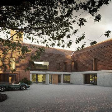 New Farm - Entrance Courtyard - Handmade Bricks and Tiles, Hoggin & Concrete