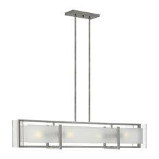 Hinkley Latitude Chandelier 4-Light Linear, Brushed Nickel