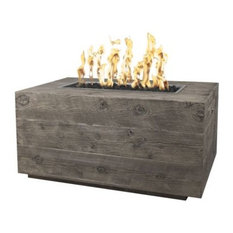 Catalina Concrete Wood Grain Natural Gas Fire Pit, Ivory, Electric Ignition