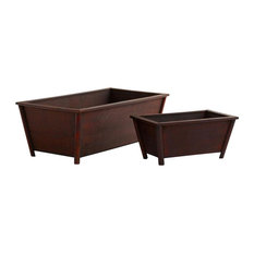 2-Pc Rectangular Planters in Brown