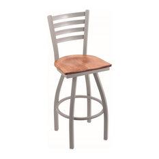 410 Jackie 30-inch Bar Stool Anodized Nickel Finish Medium Maple Seat