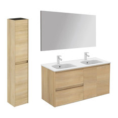 Ambra Complete Vanity Unit With Column and Mirror, Nordic Oak