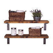 Industrial Shelves With Metal Brackets, Set of 2, Walnut, 36""