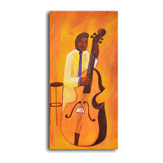 """Hand Painted """"Yellow jacket cellist"""" Oil Painting"""