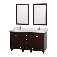 "Wyndham Collection 60"" Acclaim Espresso Double Vanity With White Porcelain Sink"