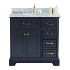"36"" Single Sink Bathroom Vanity, Dark Gray With Carrara Marble Top"