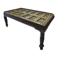 Mogul Interior - Consigned Hand-Carved Antique Doors Dining Table With Iron Nails - Dining Tables