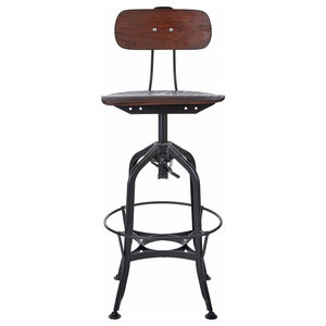 Bar Stool With Black Finished Metal Frame, Walnut Wooden Seat and Backrest