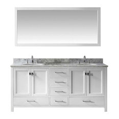 "Caroline Avenue 72"" Double Bathroom Vanity Set, White, Italian Carrara White"