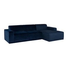 Nuevo Leo Sectional Dusk Velour Sofa/Dusk Boucle Chaise Chaise On Left