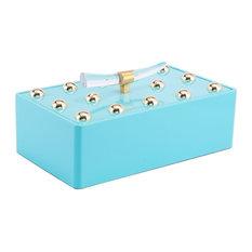 Modern Contemporary Decorative Boxe Tray Decor, Blue, Wood