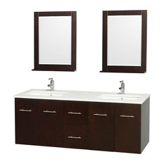 """Centra 60"""" Espresso Double Vanity, White Man-Made Stone Top, Drop-In Square Sink"""