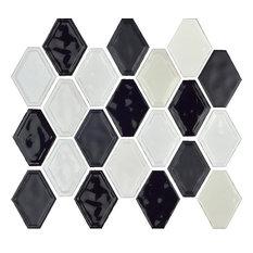 "12""x12"" Glazed Ceramic Diamond Mosaic Tile, Black/White Blend"