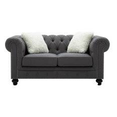 Simone Tufted Loveseat With Accent Pillows
